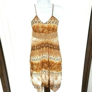 Y2K Brown semi formal midi pouf hippie party dress